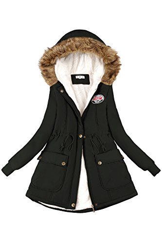 Babyonlinedress® Stylish Damen Winter Stepp Jacke Winterjacke gesteppt Teddyfell warm gefüttert Schwarz M