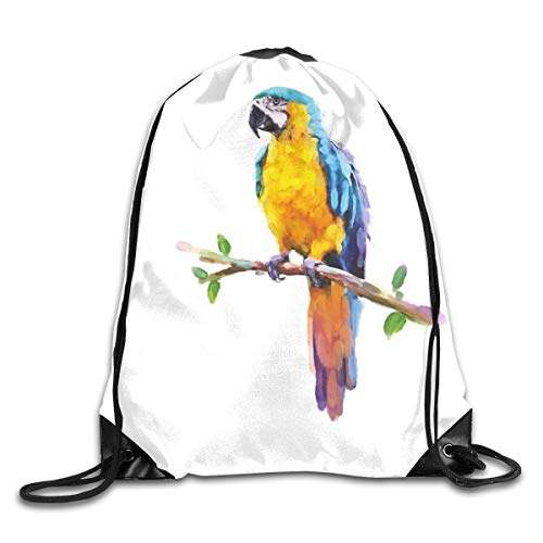 Jebnpse Printed Drawstring Backpacks Bags,Australian Wild Fauna Inspired Artwork of Parrot Cockatoo Jungle Bird In Lively Colors,Adjustable String Closure -