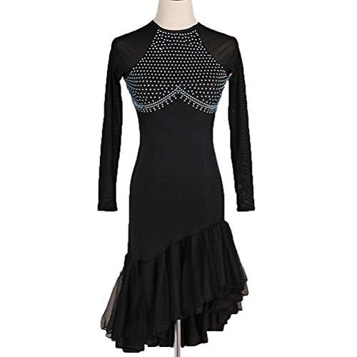 HAOBAO Einfache Langarm Latin Dance Performance Kleider Für Frauen/Erwachsene Hohle zurück Turnanzug Rumba Tango Dance elastisches Kleid Strass Partei Kostüm, L