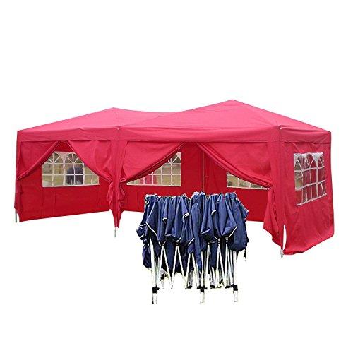 Pavillon 3x6 Wasserdicht Faltbar Stabil aus 270g/ m² Polyester mit PVC-Beschichtung von Serface, Partyzelt Zelt Faltpavillon Festzelt Rot