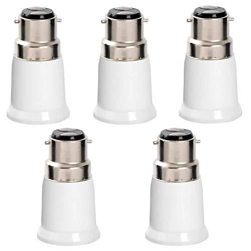 Hochwertiger B22 auf E27 Edison-Schraube LED Lampensockel Konverter Adapter Fassung Extender Halter Energiesparlampe 5 Stück Life Extender
