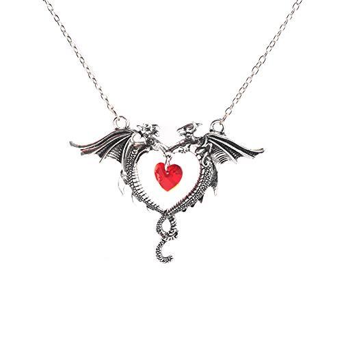 Emorias 1 Stück Halskette aus Legierung Doppelter Drache Liebe Guardian Unisex Silver Mode Schmuck Accessoires Accessoires Geschenk Dekoration Halloween
