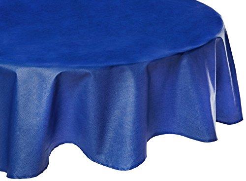 Fleur de soleil Nappe Ronde anti-tache imperméable 160cm Uni Bleu Royal coton enduit - sans solvant - sans phtalate - 100% fabrication française