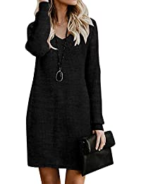 Style Dome Femme Oversize Pull Tops Col V Manches Longues Casual Shirt Robe Tunique Blouse