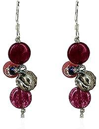 Pendientes Mujer Fashionvictime - Joya Plata 925 - Cristales Swarovski, Perla, Jade