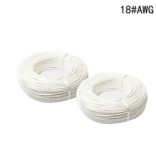 Merssavo Fil de silicone de calibre 18 fil de silicone super flexible Fil de silicone de calibre 18 AWG (1M, blanc)