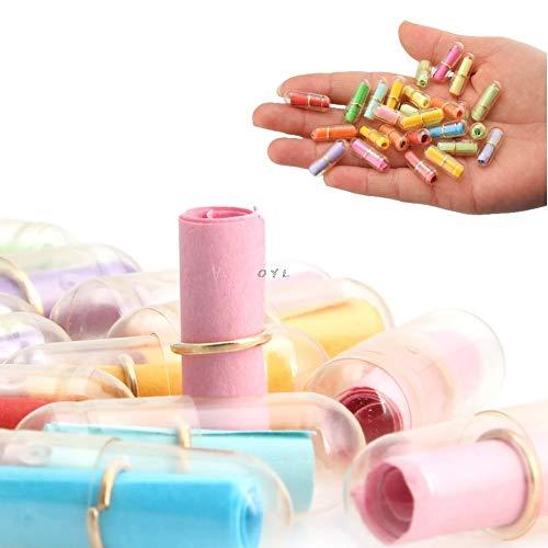 rSupplies 100pcs/Lot Message in a Bottle Message Cute Capsule Letter Love Pill Full Clear Color Mini Wish Bottle ()