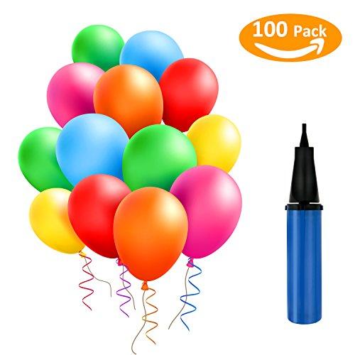 TedGem 100 Stück Luftballons und 1 Ballonpumpe, Ballon und Luftpumpe, Ballonpumpe, Luftballon, Partyballon, Farbige Ballons, Bunte Ballons für Geburtstagsfeiern,Party,Hochzeitsfeiern