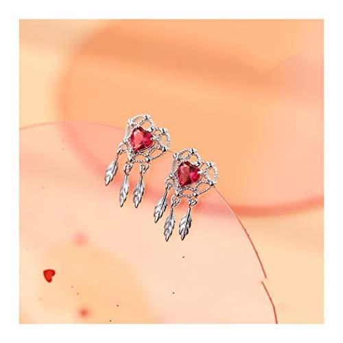 YOYOYAYA 925 Reine Silber Ohrringe Weiblich Zubehör Rose Rot Liebe Dream Trap Quasten Zarte Pfirsich Herz Federn Cute