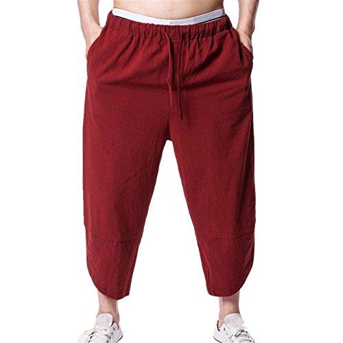 Lange Hosen Herren, Sommer Casual Loose Einfarbige Linen Sweatpant Trainingshose Sporthose Freizeitshose in vielen Farben (XXL, Rot)