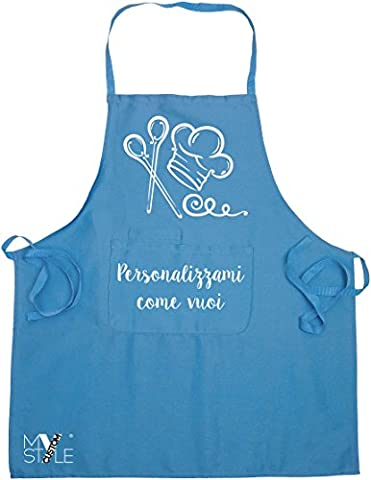 My Custom Style® Blue Kitchen Apron Blue 100% Cotton 60x70x16cm. Simpathic gift idea, or for an original look in the kitchen. Made with direct digital impressioning. Front pocket.