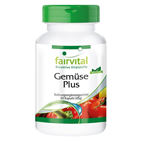 Gemüse Kapseln (Gemüse Plus - 60 Kapseln, vegetarisch - hochwertige Gemüsepulver mit Vitaminen, Mineralstoffen, Enzymen und Pflanzenstoffen)
