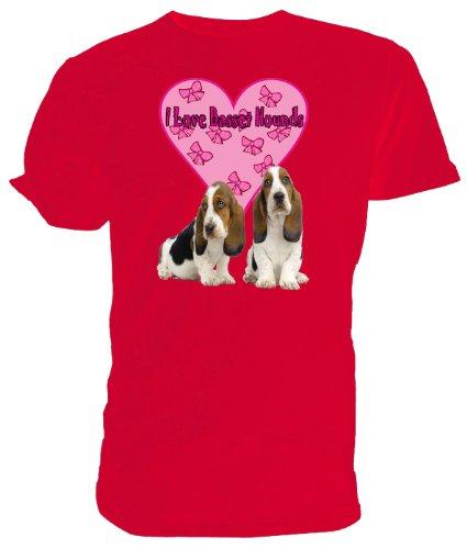 Basset Hound T Shirt, I Love Basset Hounds Rosso