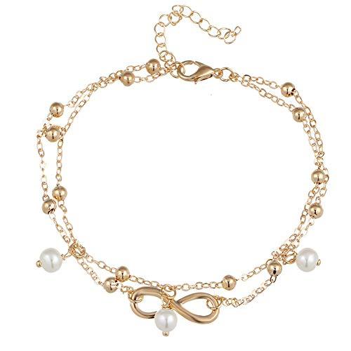 JLDMAI Sommer Stil Gold/Silber Farbe Layered Chain Infinity Charm Fußkettchen für Frauen Knöchel Armband am Fuß HalhalEnkelbandje