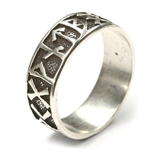 riesiger Runenring Herrenring große Größe 925 Silber Gr 80 Silberring