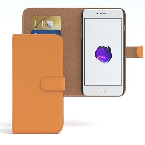 """iPhone 8 Hülle / iPhone 7 Wallet Case - EAZY CASE Bookstyle Cover """"VINTAGE"""" Klapphülle für Apple iPhone 7 & iPhone 8 - Edle Schutzhülle als Geldbeutel mit Kartenfach in Anthrazit Schwarz Orange - Uni"""