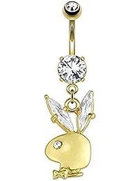 Gekko body jewellery Piercing conejito de Playboy Gemmed Auriculares con 14kt oro chapado en barra de vientre/ombligo anillo