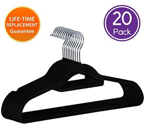ANSIO Ultra-dünnem Design, rutschfeste Kleiderbügel 45cm/17,7cm, mit mit 20Stück, Schwarz