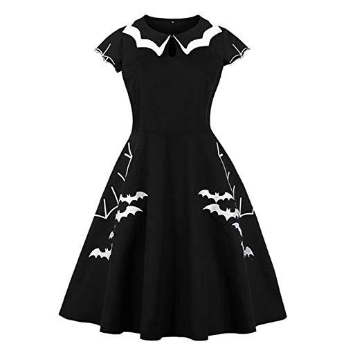 Peanutaod Halloween S-5Xl Plus Größe Fledermaus Stickerei Kleid Frauen Punk Party Kleider Bowknot Selbst Gothic Kleid Kleidung Schaukel Vestidos -