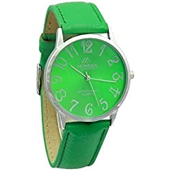 Unisex Silver Plated Mondex / Azaza / MABZ PU Leather Strap Watch (Green Strap Green Dial)