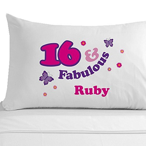 Personalised 16 And Fabulous Butterfly Girls Name Pillowcase 16th Birthday Gift Ideas by Personalised Gift Ideas