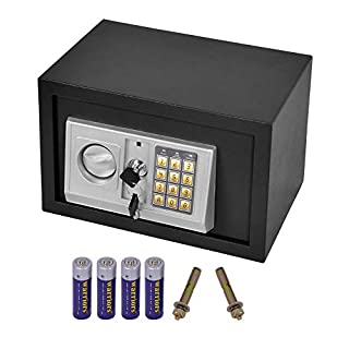 AWinEur 8.5L Security Boxes Electronic Digital Steel Security Safe Home Office Money Cash Safety Box & Keys (31 x 20 x 20cm) -Black
