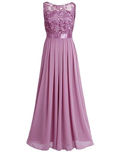 iEFiEL Damen Kleid Festliche Kleider Brautjungfer Hochzeit Cocktailkleid Chiffon Faltenrock Elegant Langes Abendkleid Pflaumenfarben 44 (Herstellergröße:14) Satin-damen-kleid