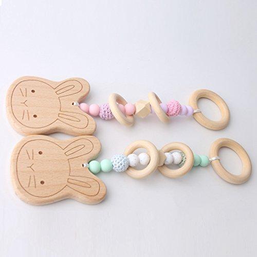 Mamimami Home 2 STÜCK Baby Beißring Buche Holzringe Häkeln Silikon Perlen Bunny Rabbit Bio Rassel DIY Holz Charms Babybett Spielzeug