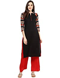 Jaipur Kurti Black Solid Kurta With Red Palazzo Set