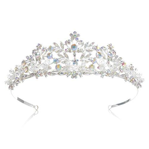 Verkleiden Prinzessin (SWEETV Luxus Kristalle Krone Braut Tiara Diadem Prinzessin Haarschmuck für Hochzeit Festzüge Abschlussbälle,)