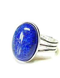 Blue Lapis Lazuli Gemstone Ring - Adjustable 18 x 13mm by The Black Cat Jewellery Store