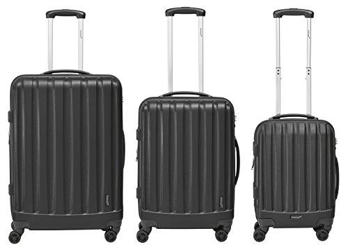 Packenger Velvet Koffer, Trolley, Hartschale 3er-Set in Schwarz, Größe M, L und XL