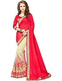 Glory Sarees Women's Georgette With Blouse Piece (Sukanya Pink_Crimson Red & Beige)