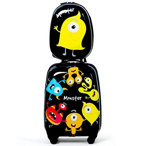 COSTWAY 2tlg Kinderkoffer + Rucksack Kofferset Kindertrolley Kindergepäck Handgepäck Reisegepäck Hartschalenkoffer (Modell 1)
