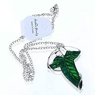 A-szcxtop Lord of the Rings Aragorn Elven Green Leaf Brooch Pin Pendant with Chain Necklace