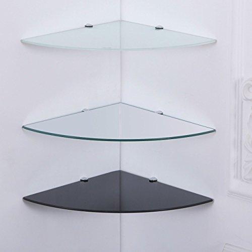35x35 cm Eckregal Schwarz-Glas 6mm Sicherheitsglas Glasboden Glasplatte Glas-Regal Glasscheibe Wand-Regal Eck Regal Eck-Ablage Regal-Halterungen - Euro-stil-glas-regal