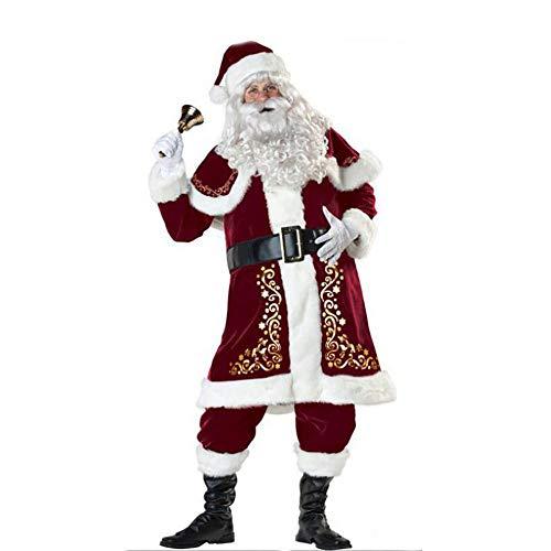 Santa Suit Adult Cosplay Luxus Plüsch Herren Rot Zubehör Weihnachten Kleider Fancy Dress Outfits Für Weihnachten/Karneval Halloween Kostüme,Red,L