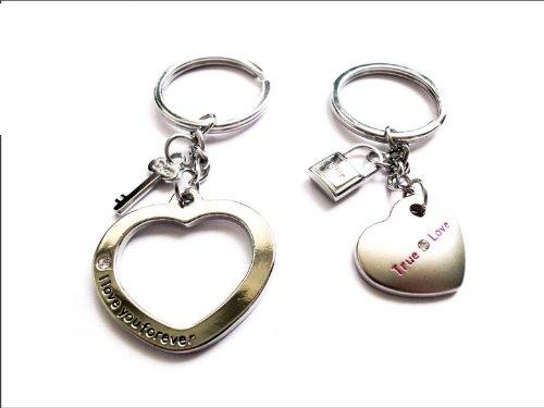 Remmo&Love Partner Herz Anhänger mit Strass und Schlüssel, mit Gravur