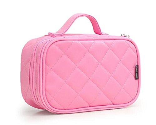 Kosmetiktasche, ONEGenug MakeUp Tasche, Schminktasche Kosmetikbeutel 20*12*8 cm Doppelschicht mit Spiegel für Damen pink