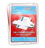 XLam Laminierfolien A2-2 x 125 Mic - glänzend - 100 Stück - PREMIUMQUALITÄT FÜR PERFEKTE LAMINIERERGEBNISSE