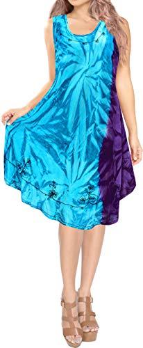 LA LEELA 3 in 1 weicher Kunstseide Tank-Top Damen Krawatte gestickt Partei Sommerkleid beiläufige Badebekleidung Lounge Prom verschleiern Tunika Bademoden ärmel Größe Frauen Abendkleid blau färben