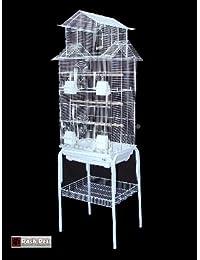 Jaula de pájaros Barcelona, con soporte y diseño pagoda, para pájaros pequeños