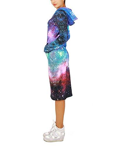 Femme Chic Robe à Capuche Sweat Longues Manches Shirt Tunique Comme l'image1