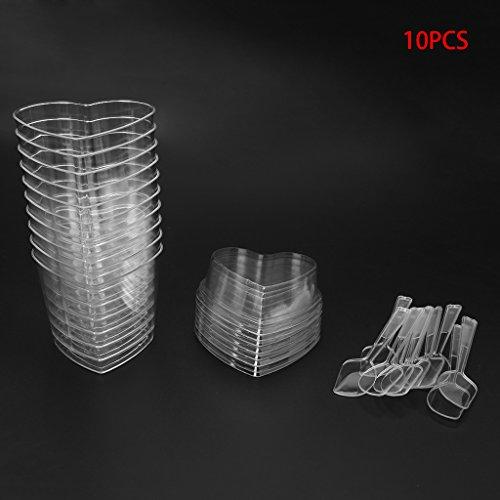 (10Pcs Disposable Hard Plastic Mousses Dessert Cup Heart Shape With Spoons Lids)
