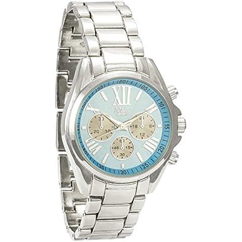 M & c Ferretti Mujer   Plata Cronógrafo Azul Dial de Midi reloj   ft14501