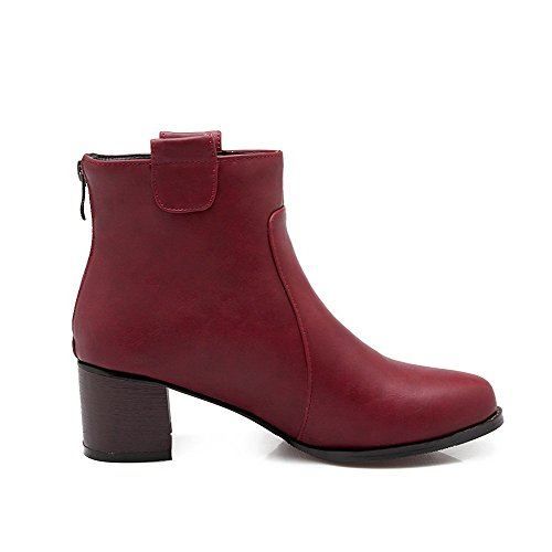 VogueZone009 Damen Reißverschluss Spitz Zehe Mittler Absatz Niedrig-Spitze Stiefel, Rot, 42