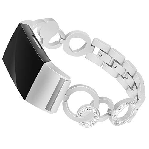 Waotier für Fitbit Charge2 Armband Damen Edelstahl Ersatzarmband Kompatibel für Armband Fitbit Charge 2 Diamant Strasssteine Armband mit Schnellverschluss Damen Armband Sportuhr Armband (Silber)