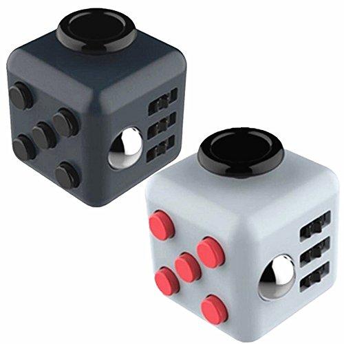 Yocome 2 piezas de Fidget cubo Fidget Dice juguete alivia ansiedad estrés juguetes herramienta para niños y adultos, negro y gris