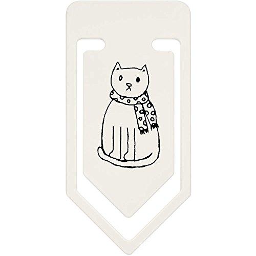 Azeeda 91mm 'Katze Tragen Schal' Große Plastik Büroklammer (CC00017747) - Tragen Große Schal