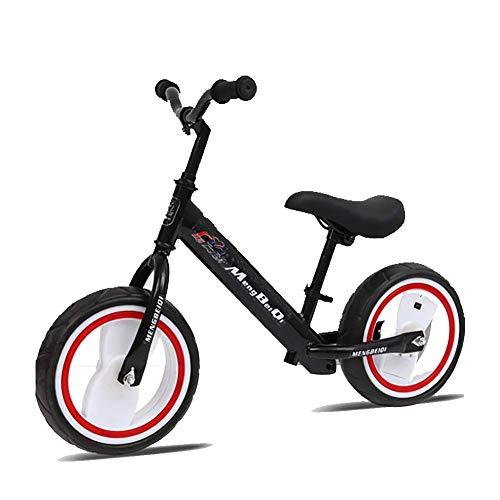 ZNDDB 12 Zoll Kinder Laufrad - Jungen Und Mädchen Ab 2-6Jahre | Höhenverstellbar | Ergonomischer Sattel | Für Mädchen & Jungen,Beleuchtetes Rad,Black